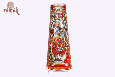 "Hand-painted ""Tholu Bommalata Art"" Floor Lamp - Rasleela"