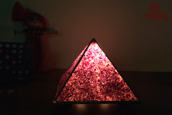 "Hand-made ""Gemstone Art"" lavender Night Lamp"