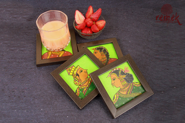 Hand-painted Chitrakathi Art Coasters - Royalty