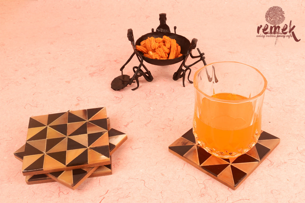 Handcrafted Bull Horn Coasters - Triangular Geometrical Pattern