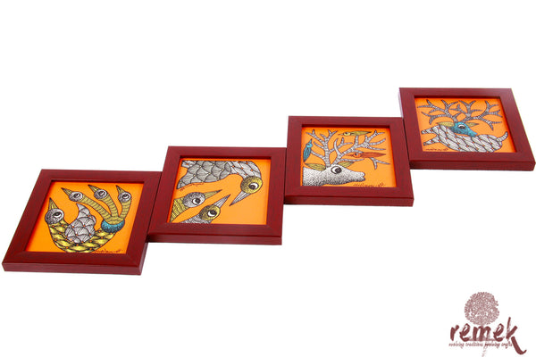 Hand-painted Gond Art Coasters - Enigmatic Eyes