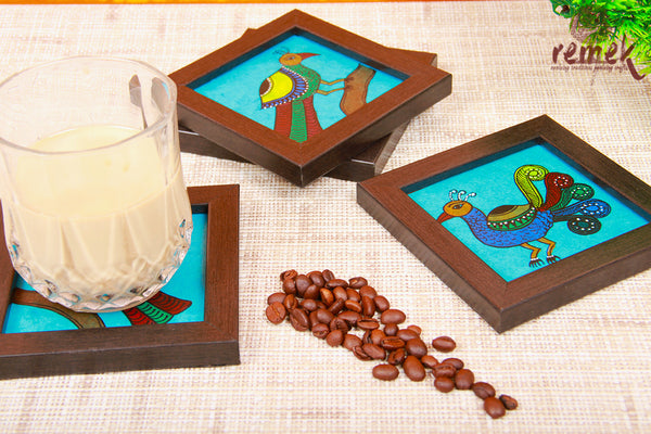 "Hand-painted Chitrakathi Art Coasters - Shades of ""Mayura"""