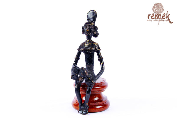 "Antique Dhokra Figurine - Folk Musician Playing ""Maracas"""