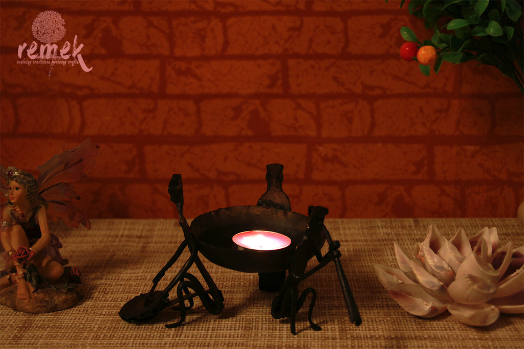 Bastar Wrought Iron Tea Light Holder - Fusion