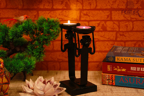Bastar Wrought Iron Tea Light Holder - Opposing Men