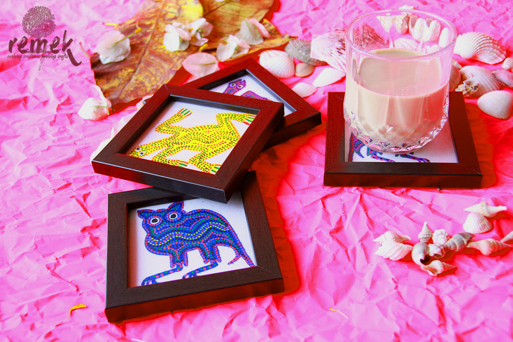 Hand-painted Bhil Art Coasters - Various Animals