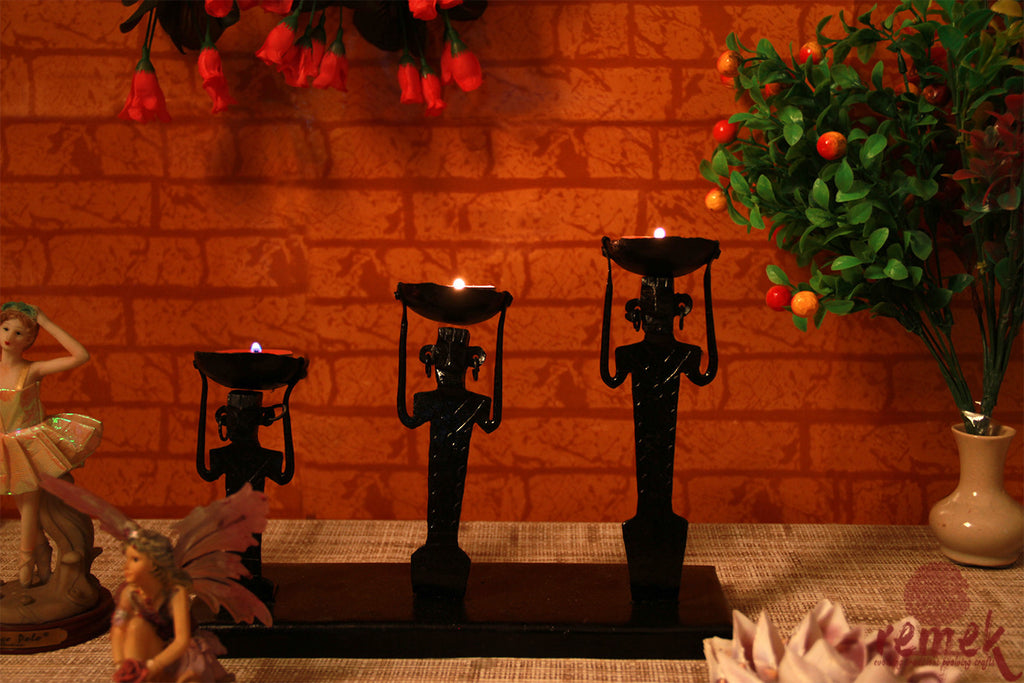 Bastar Wrought Iron Tea Light Holder - Working Men