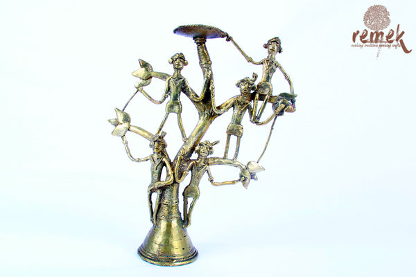 "Unpolished Rustic Dhokra Tea Light Holder - ""Mahua"", Tree of life"
