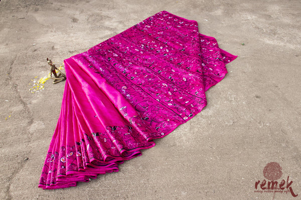 Hand-painted Santhal Art Kosa Silk Saree - Tribal Gaatha
