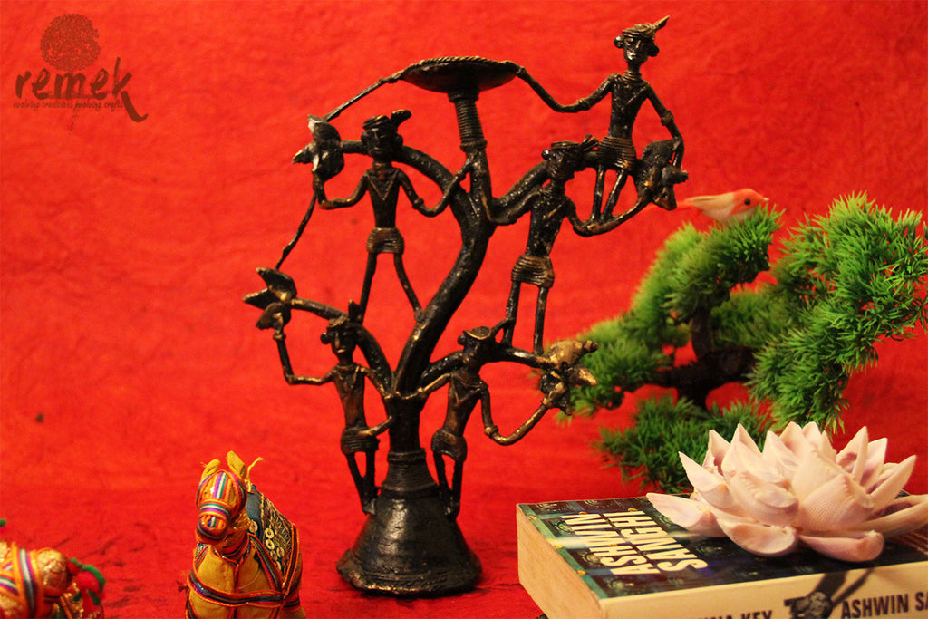 "Antique Dhokra Tea Light Holder - ""Mahua"", Tree of life"
