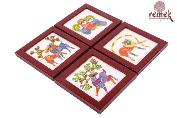 Hand-painted Gond Art Coasters - Diverse Animals