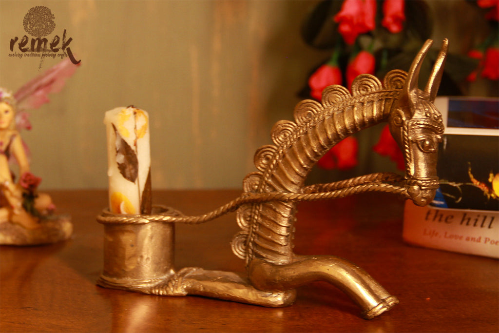 "Unpolished rustic Dhokra Candle Holder - ""Ashva"", Symbol of Power"