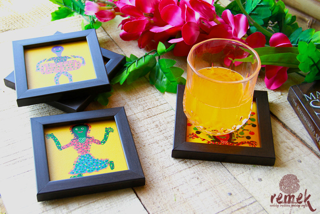Hand-painted Bhil Art Coasters - Playful Children