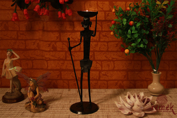 Bastar Wrought Iron Tea Light Holder - Man with Basket