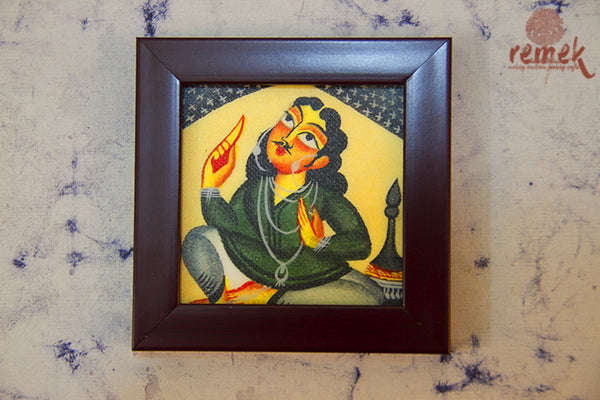 "Hand-painted ""Kalighat Art ""Coasters from West Bengal"