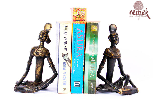 "Antique Dhokra Bookends - Folk Musician Playing ""Mridangam"""