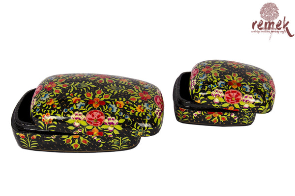 Pair of Hand-Painted Naquashi Boxes - Black Beauty