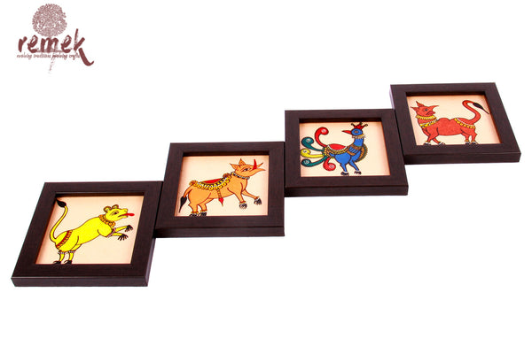 Hand-painted Chitrakathi Art Coasters - Assorted Fauna