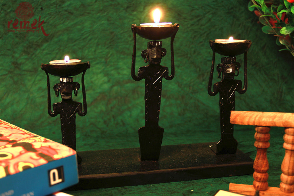 Bastar Wrought Iron Tea Light Holder - Labor