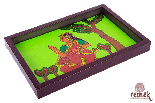 "Hand-painted ""Chitrakathi Art"" Tray - Benevolent Queen"