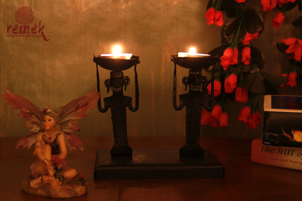 Bastar Wrought Iron Tea Light Holder - Men