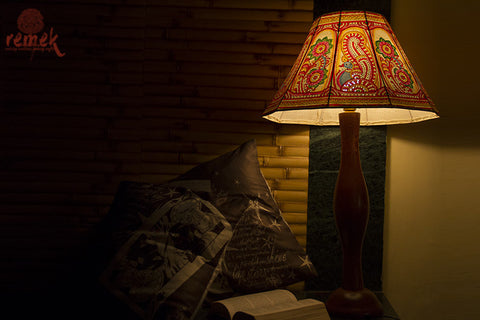 "Hand-painted ""Tholu Bommalata Art"" Table Lamp - Peacock & Flowers"
