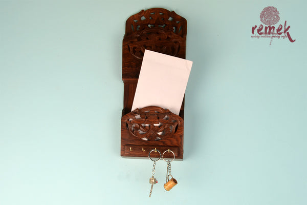 Handcrafted Wooden Key Hanger - Floral Charm