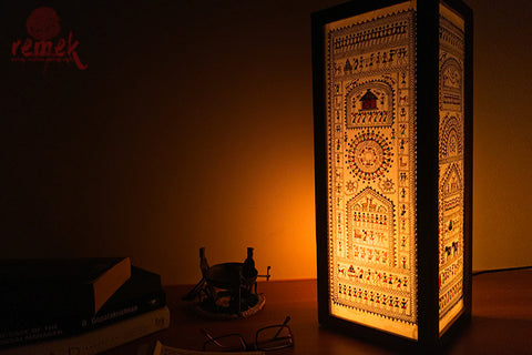 "Hand-painted ""Saura Art"" Table Lamp - Village Life"