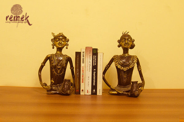 Antique Dhokra Sitting Tribal Pair