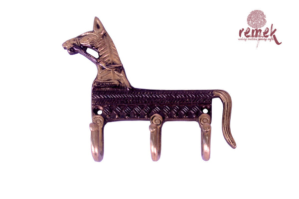 "Handcrafted Brass Key Hanger - ""Ashva"", the accelerator"
