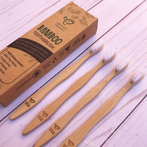 Bamboo Toothbrush Pack (4 Soft Bristle Toothbrushes)