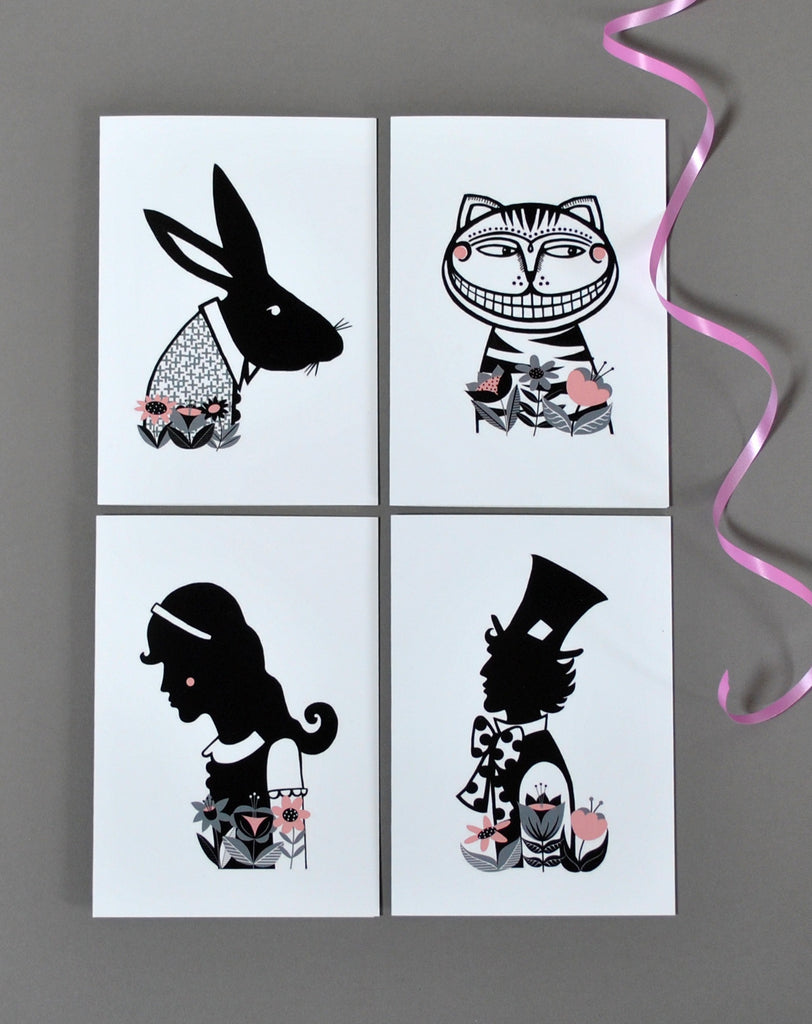 Set of 4 'Alice in Wonderland' Cards - Su Owen Design - 1