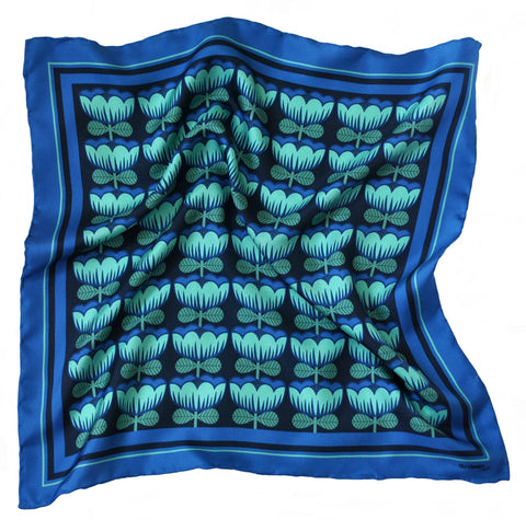 'Blue Poppy' Silk Pocket Square