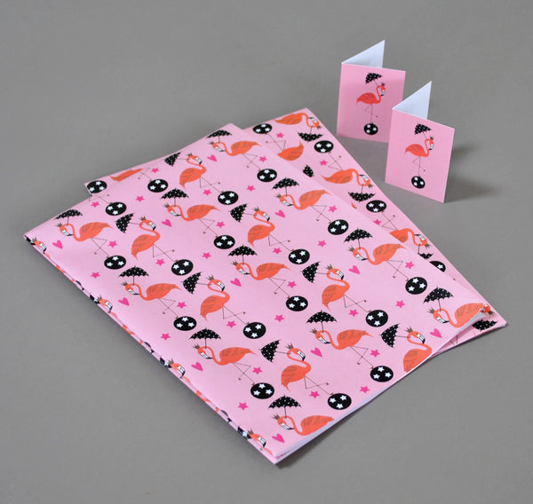 Flamingos Gift Wrap and Tags - Su Owen Design - 3