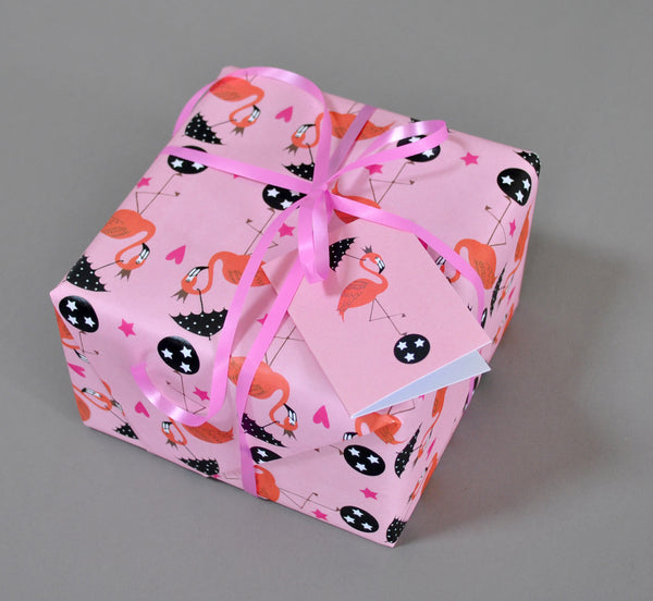 Flamingos Gift Wrap and Tags - Su Owen Design - 1