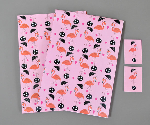 Flamingos Gift Wrap and Tags - Su Owen Design - 2