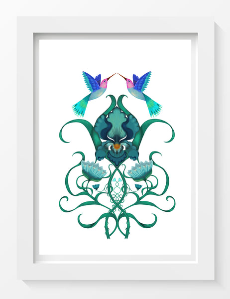 'Iris and Hummingbirds' Print