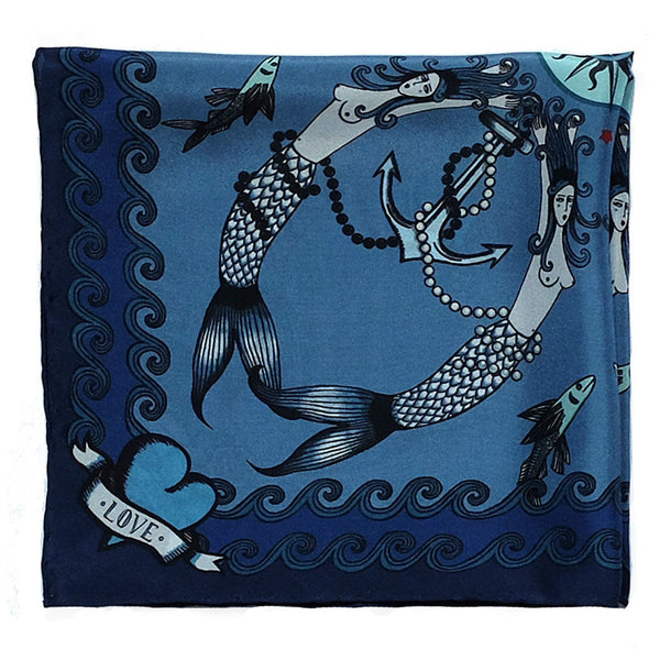 'TATTOO' - Silk Pocket Square - Now on SALE! - Su Owen Design - 1