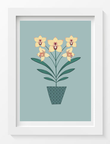 'Yellow Orchids Print'