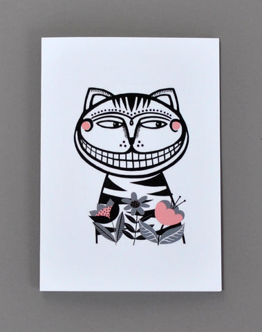 Alice in Wonderland Greetings Card - The Cheshire Cat - Su Owen Design
