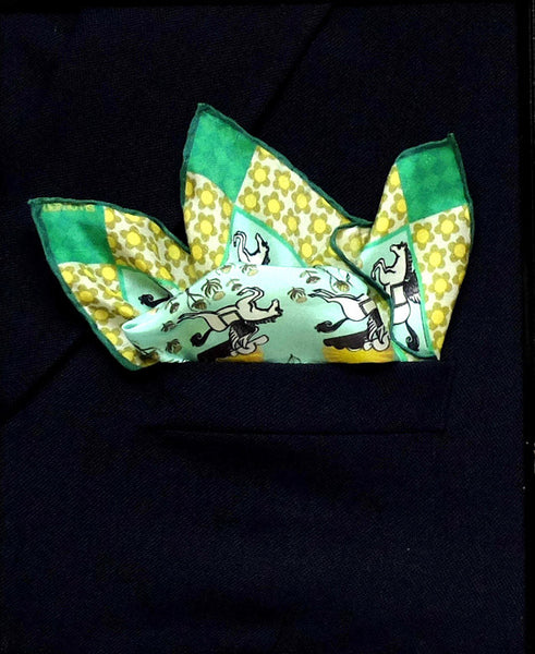 'PEGASUS' Silk Pocket Square - Su Owen Design - 3