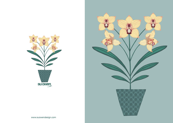 'Yellow Orchids' Greetings Card