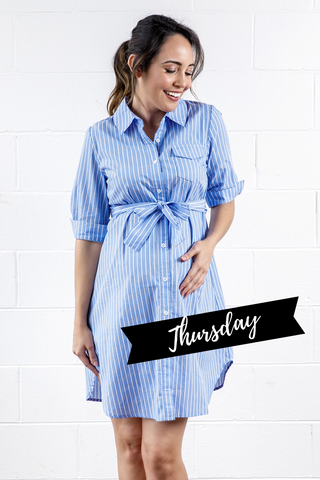 Maive&Bo Kara Blue Stripe Maternity Shirt Dress