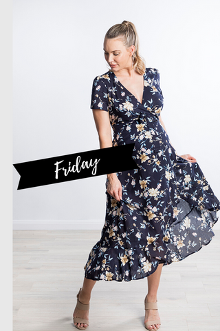 Harlow Wrap Maternity Dress in Navy Floral