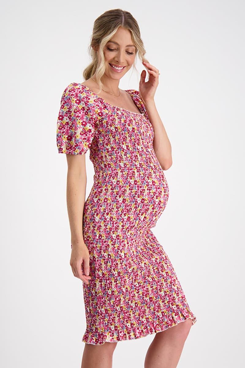 shirred maternity dress