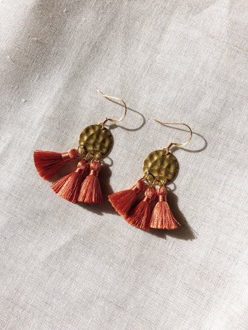 Hammered Brass Tassel earrings in 4 colours - Burnt Orange