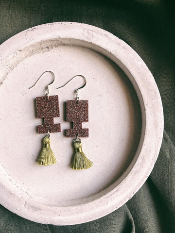 Glitter Earrings - Khaki Glitter Jigsaw Tassel - kookinuts