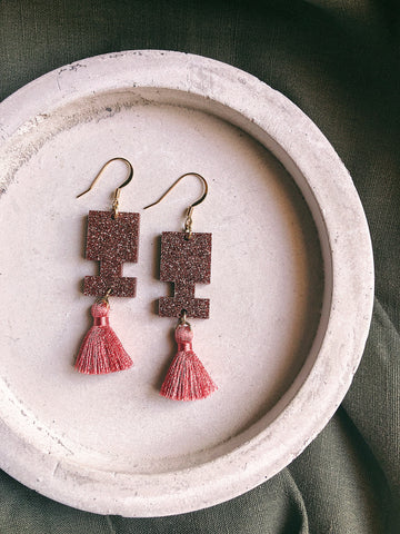 Glitter Earrings - Dusty Pink Glitter Jigsaw Tassel - kookinuts