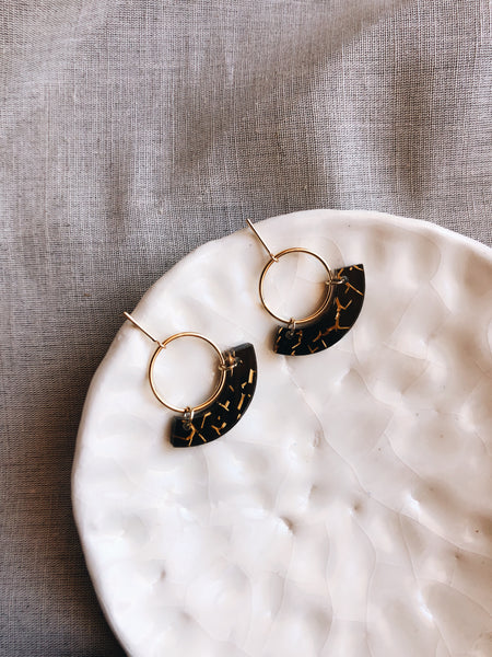 Laser cut acrylic Gold & Black circle earrings - kookinuts