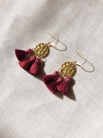 Hammered Brass Tassel earrings in 4 colours - Burgundy